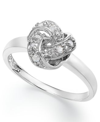 Diamond Love Knot Ring In Sterling Silver 110 Ct Tw