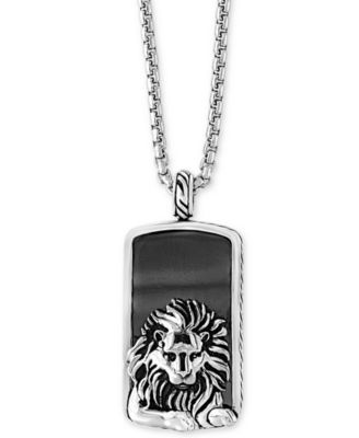 EFFY Mens Hematite 36 X 20mm Lion Dog Tag Pendant