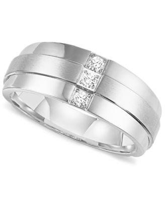 Triton Mens Three Stone Diamond Wedding Band Ring In