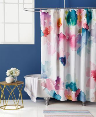 Bluebellgray Sanna Cotton Watercolor Floral Print Shower Curtain Shower Curtains Bed Amp Bath