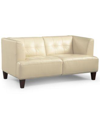 Alessia Leather Loveseat Furniture Macys