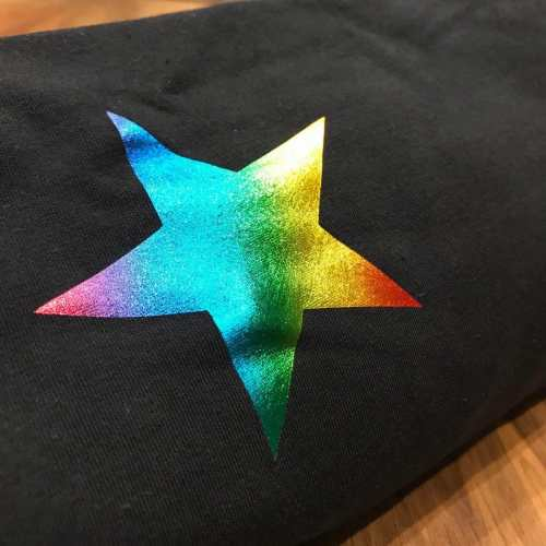 black and rainbow star
