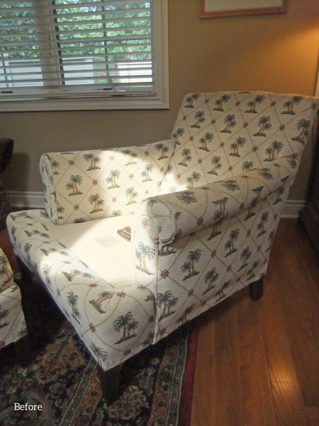 armchair before paisley slipcover
