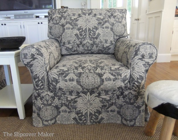Elephant Print Linen Slipcover