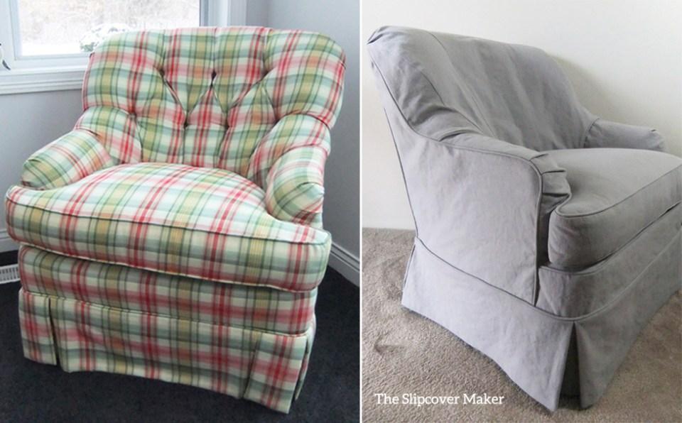 Grey Linen Cotton Custom Slipcover