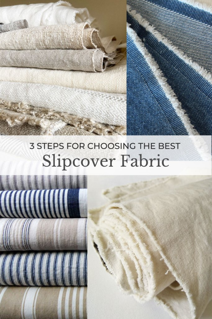 Collage of natural fiber fabrics for slipcovers.