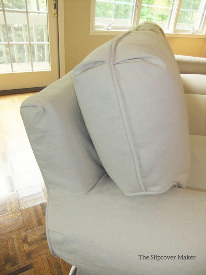 Natural Denim Slipcover on Sherrill Sofa