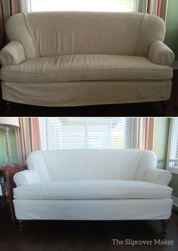 Love Seat Slipcover in Natural Denim