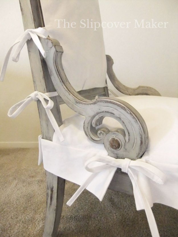 White Chino Twill Slipcover for French Chair