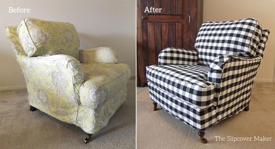 Black White Buffalo Check Chair Slipcover