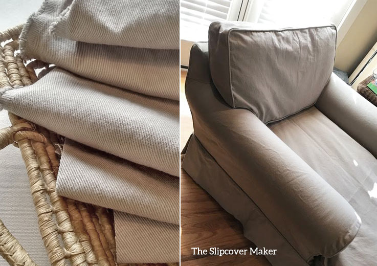 Chaise Slipcover Copy in Taupe Denim