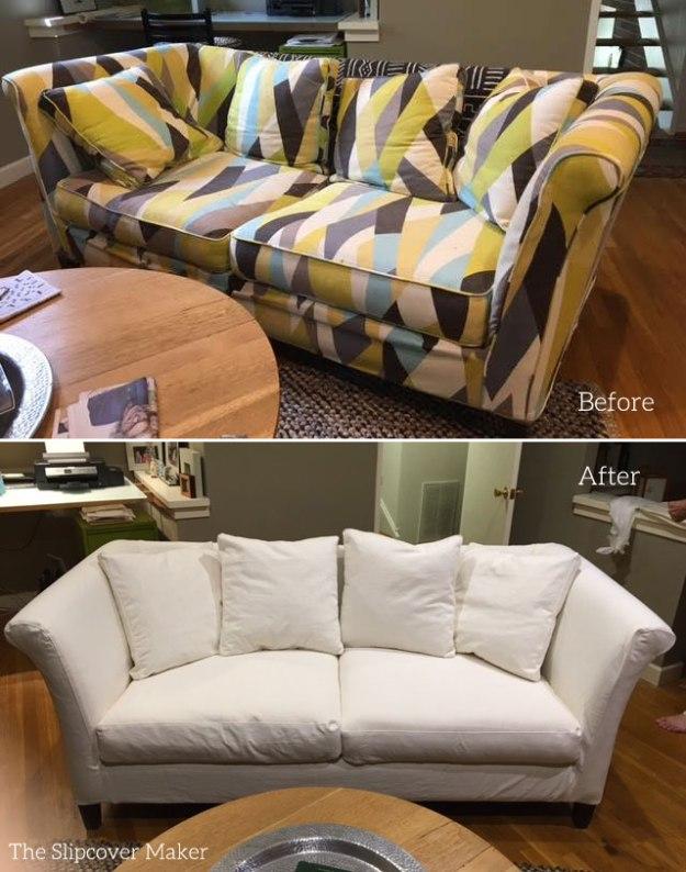 Sofa Slipcover Copy in White Denim