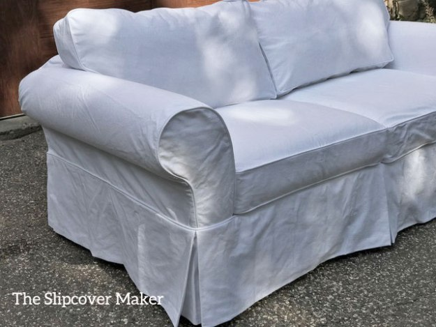 Custom Sofa Slipcover in White Cotton Bull Denim