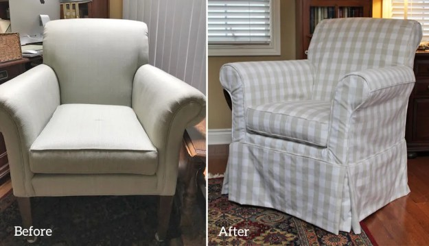 Buffalo Check Khaki Custom Slipcover