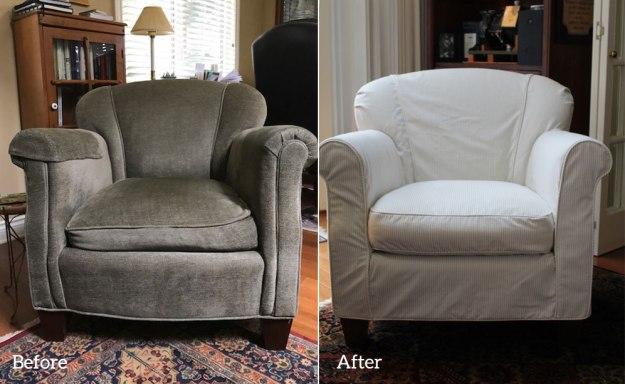 Khaki White Stripe Chair Slipcover