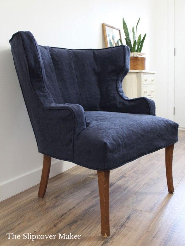 Navy Blue Linen Chair Slipcover