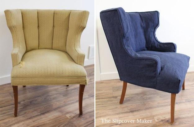 Custom Chair Slipcover Navy Linen