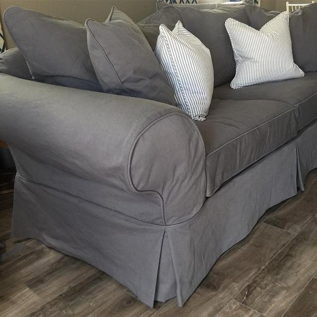 Grey Denim Sofa Slipcovers by Shelley