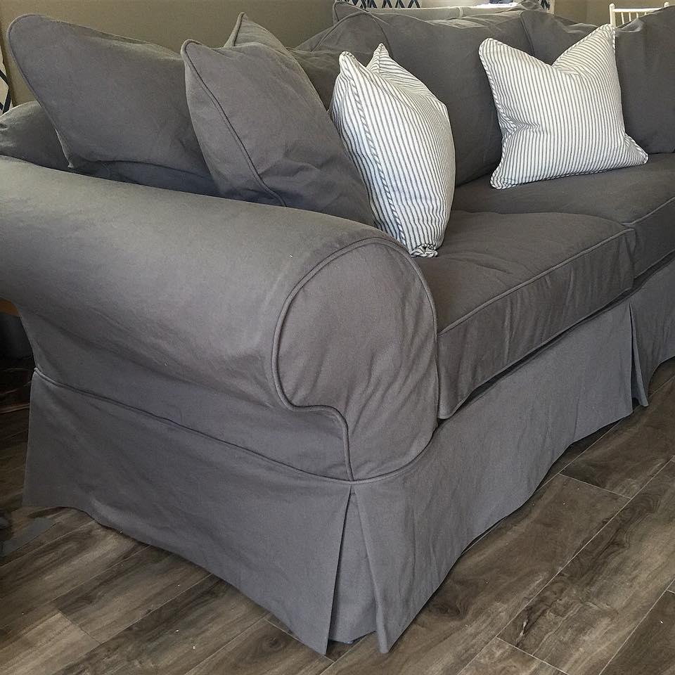 Grey Denim Sofa Slipcovers by Shelley