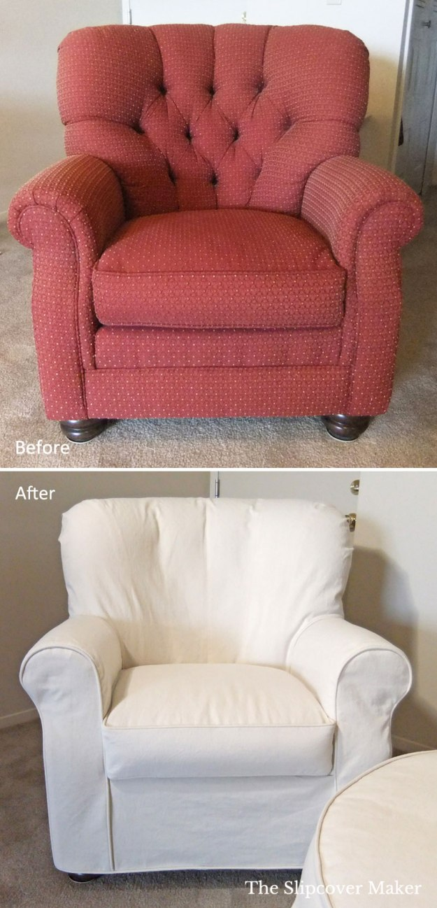 Club Chair Custom Slipcover Natural Denim