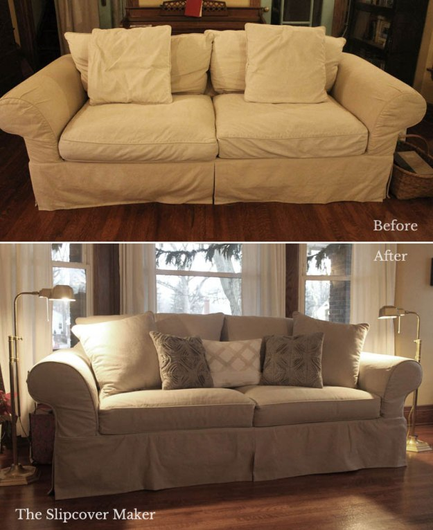 Taupe Cotton Denim Couch Slipcover