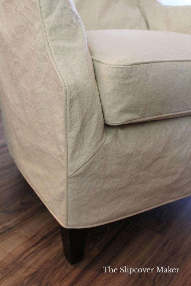 Natural Canvas Slipcover Corner Detail