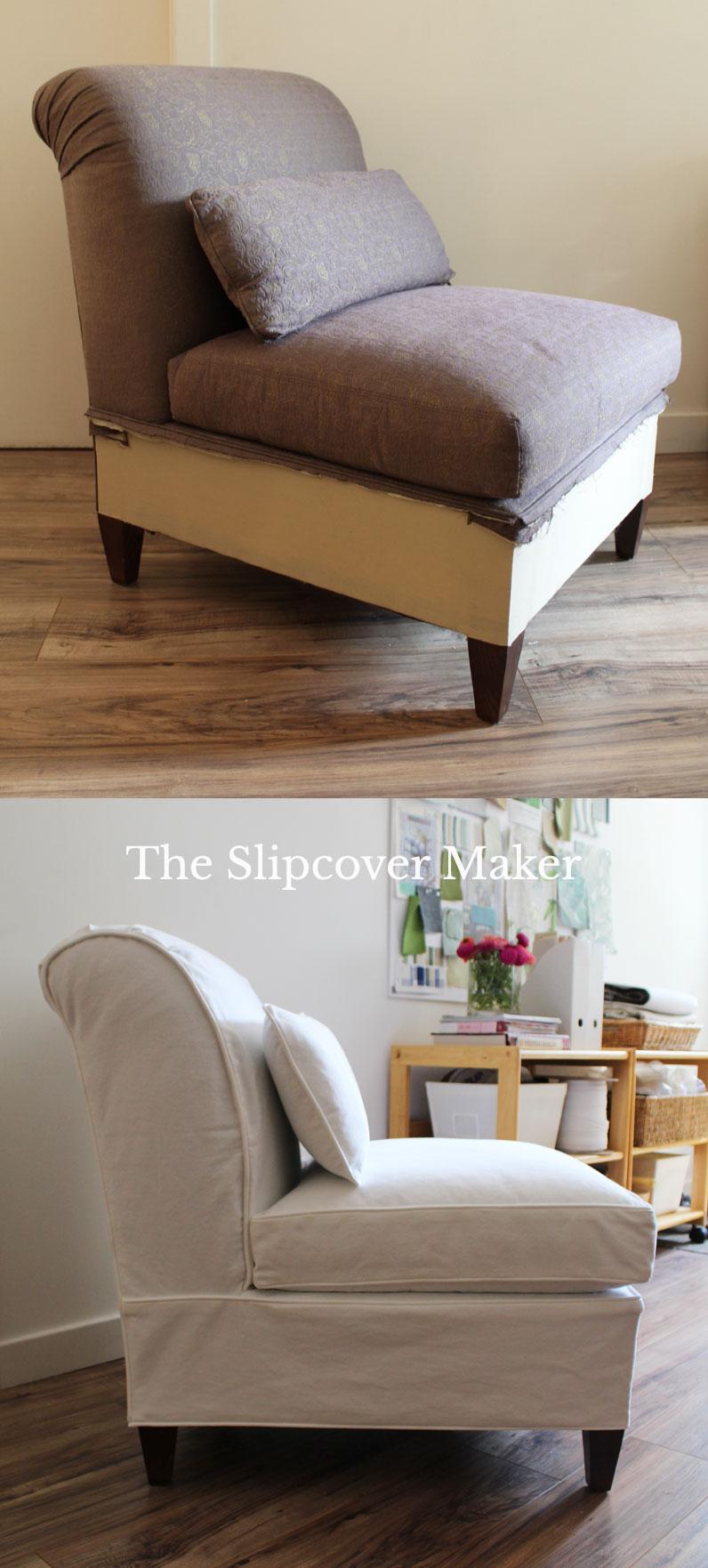 Slipper Chair Slipcover in White Denim