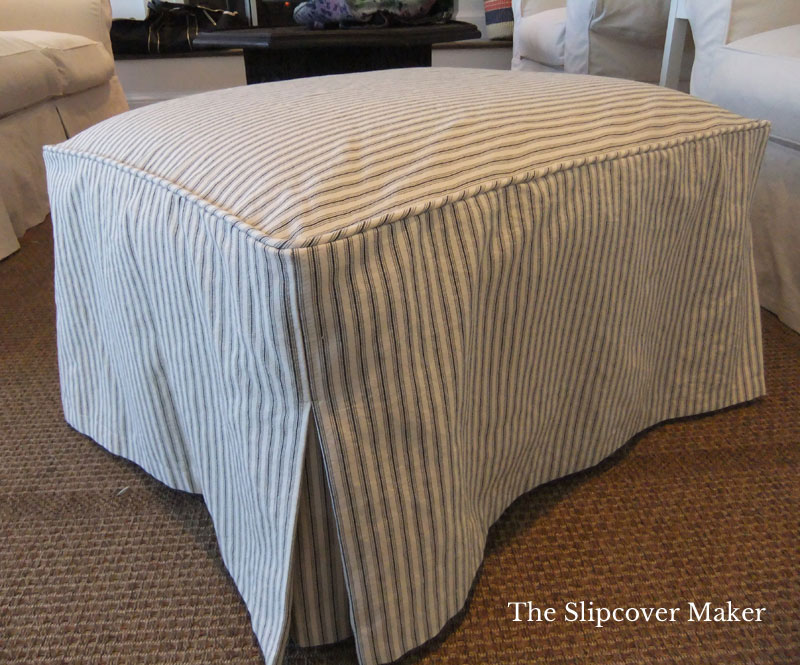 Simple Ticking Stripe Ottoman Cover