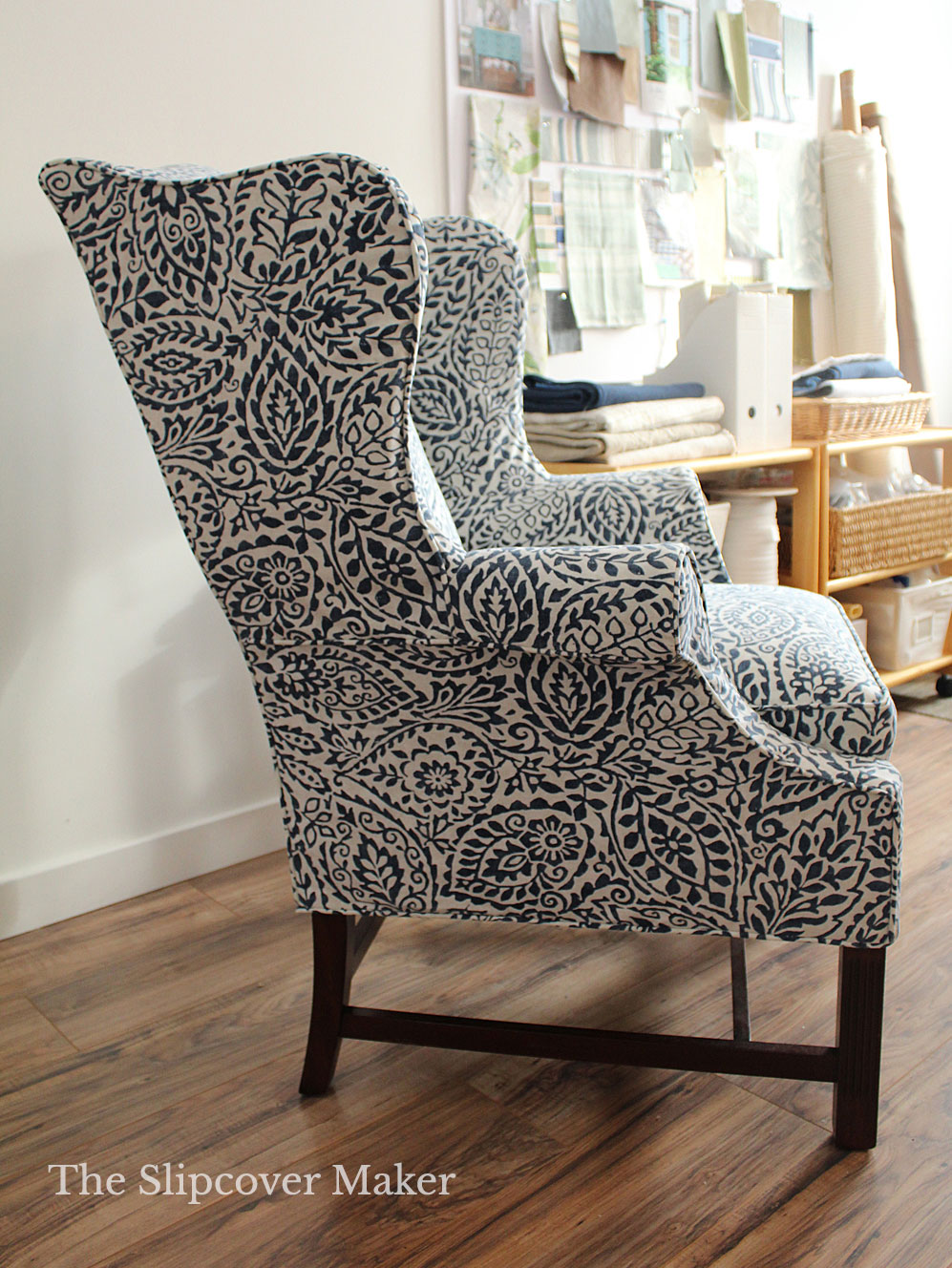 A Simple Slipcover Fix for a Complicated Wing Back Chair