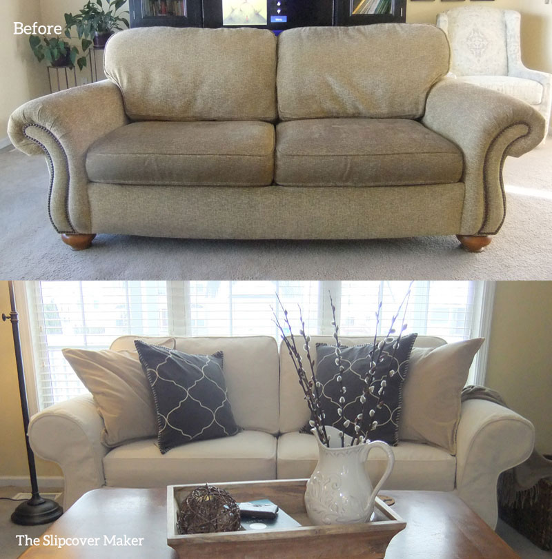 Natural Denim Slipcover Flexsteel Sofa