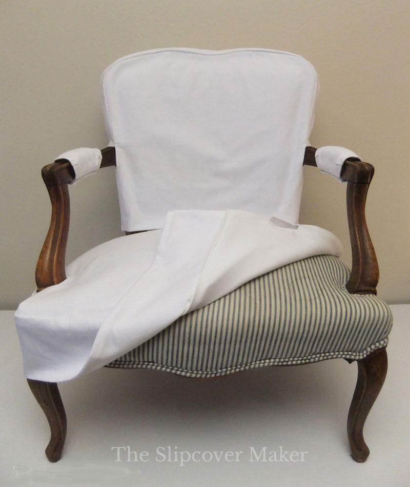 Antique French Chair with White Denim Slipcover