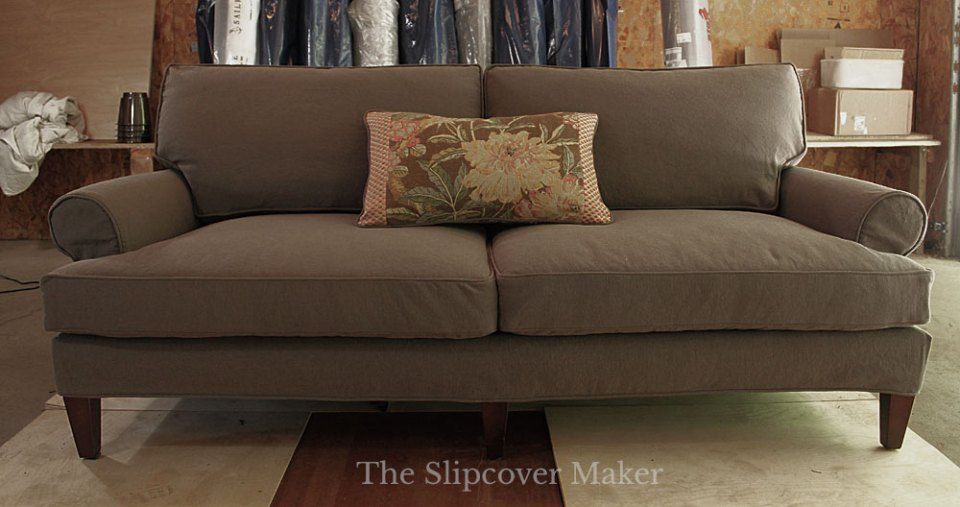 Brown Cotton Poly Canvas Sofa Slipcover