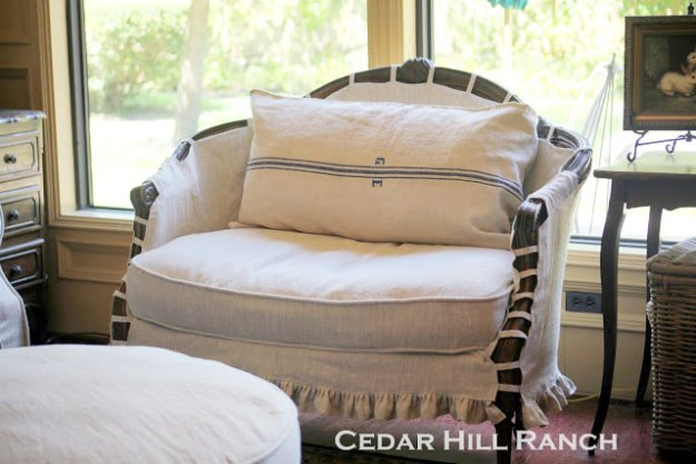 French loveseat with slipcover.
