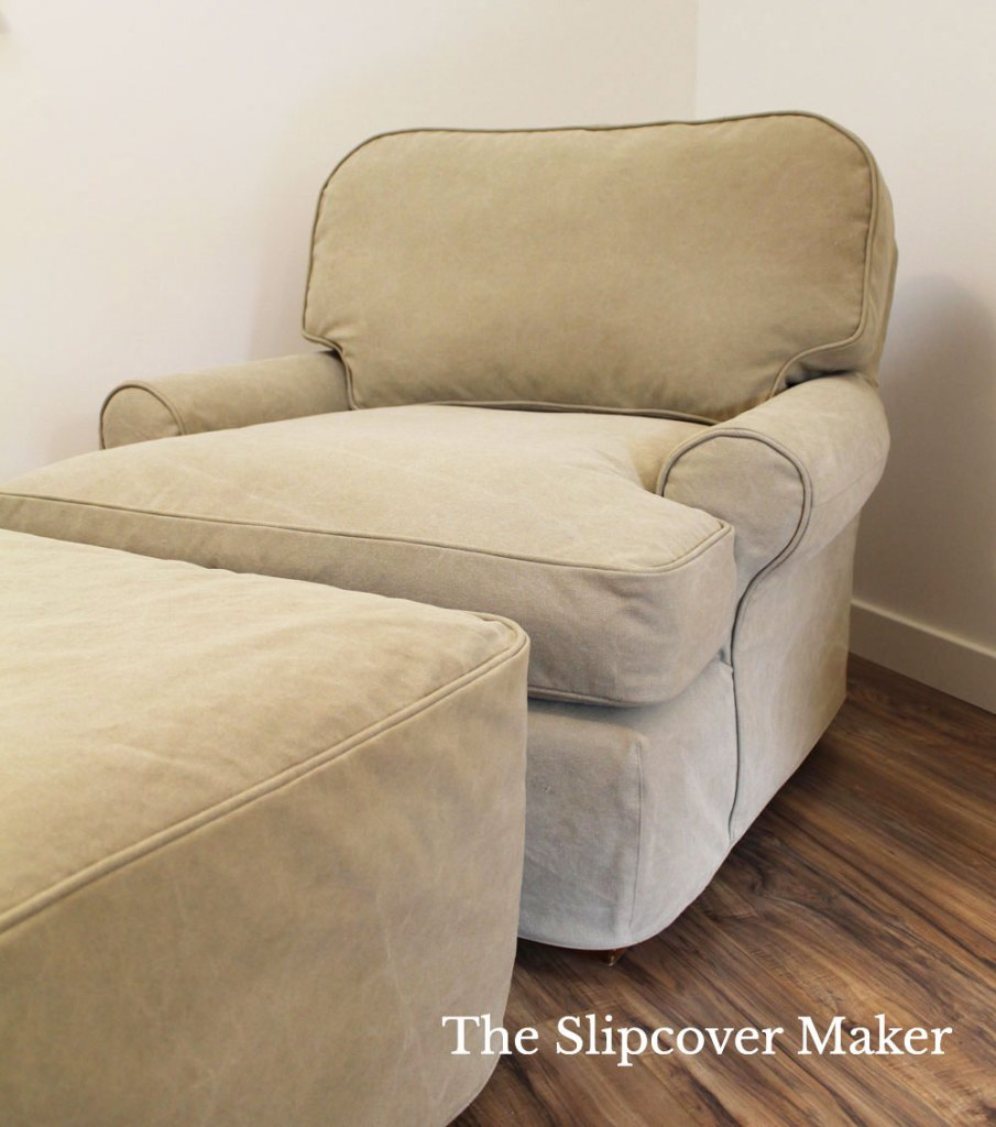 Heavy weight canvas slipcover for boxy ottoman.