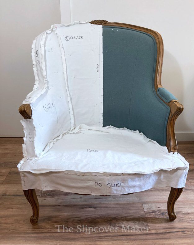 French Chair Slipcover Pattern Fitting
