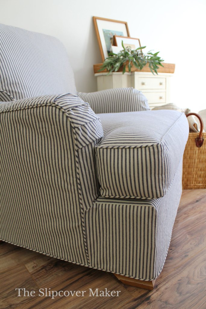Ticking Chair Slipcover Dart Placement
