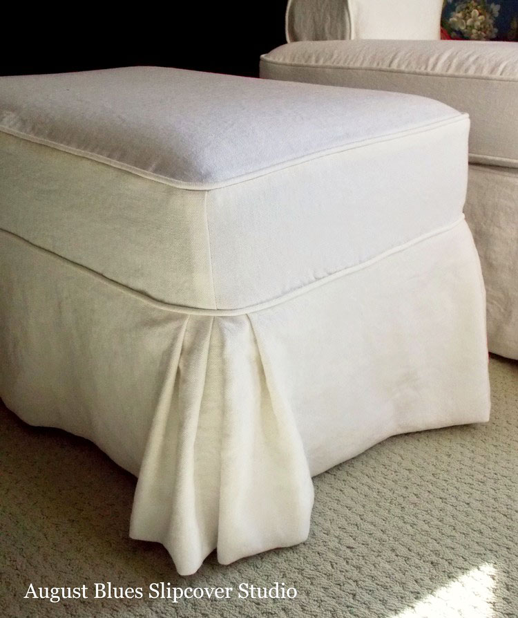 Tailored Ottoman Slipcover with Double Pleats