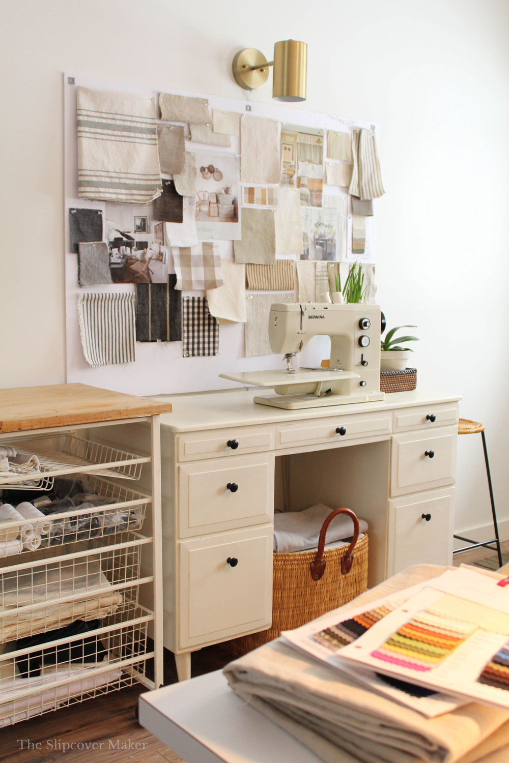 My Tiny Slipcover Workroom + Tips for Flourishing in a Small Space