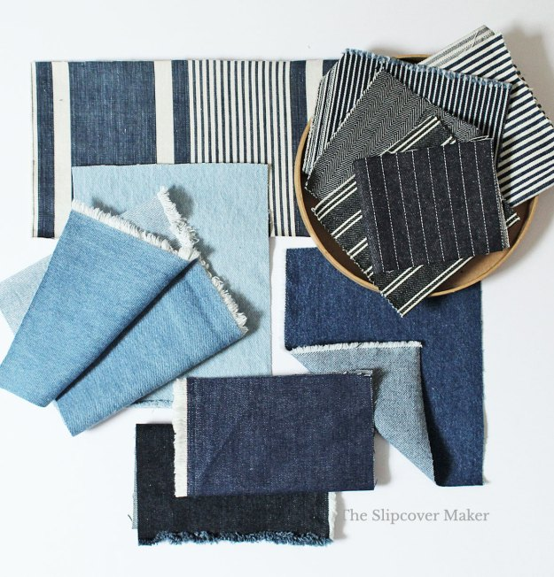 Swatches of denim in different shades of blue.