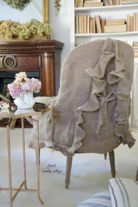 Back of burlap chair slipcover showing ruffle.