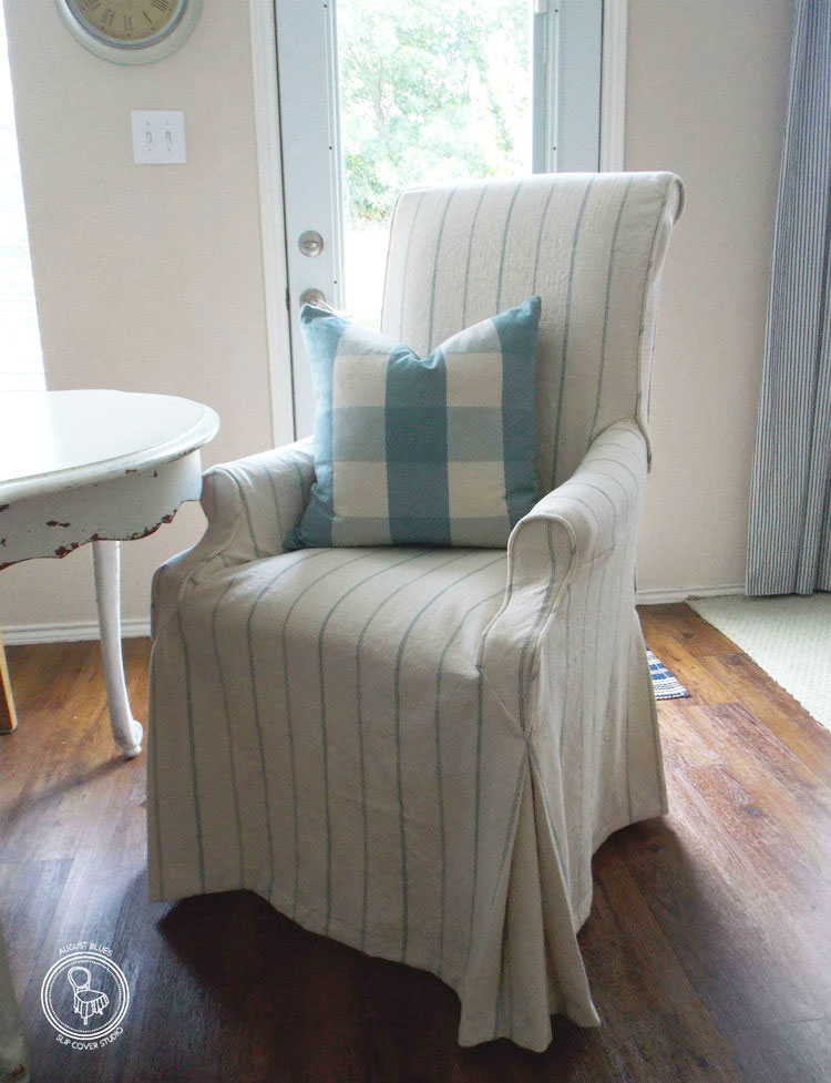 Striped linen dining chair slipcover.