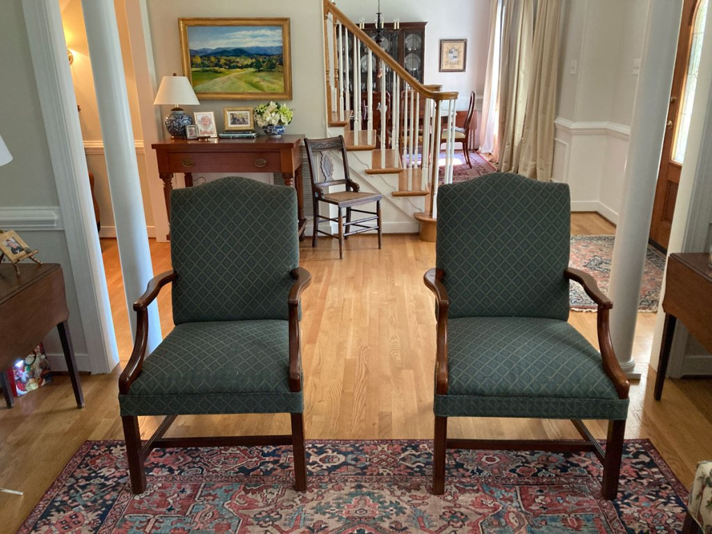 Green dining chairs.