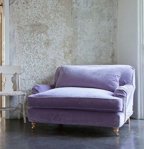 Lavender velvet slipcover on big cushy chair.