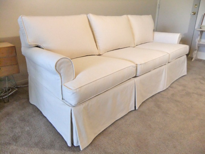 Natural Canvas Slipcover for Ethan Allen Sofa   The Slipcover Maker Canvas Customer Slipcover for Ethan Allen Sofa