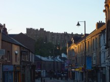 The building on the top of the hill is the real Durham castle