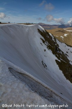 If you look carefully you can see the marks where someone skis down the slope