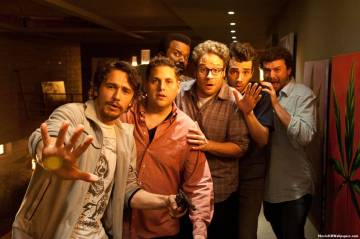 """L-r, James Franco, Jonah Hill, Craig Robinson, Seth Rogen, Jay Baruchel and Danny McBride star in Columbia Pictures' """"The End of the World."""""""