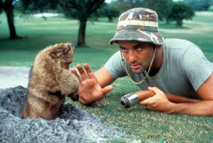 Bill Murray eye to eye with a groundhog in a scene from the film 'Caddyshack', 1980. (Photo by Orion Pictures/Getty Images)