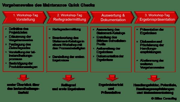 Das Vorgehen des Manintenance Quick Checks des firma Slitisa Consulting