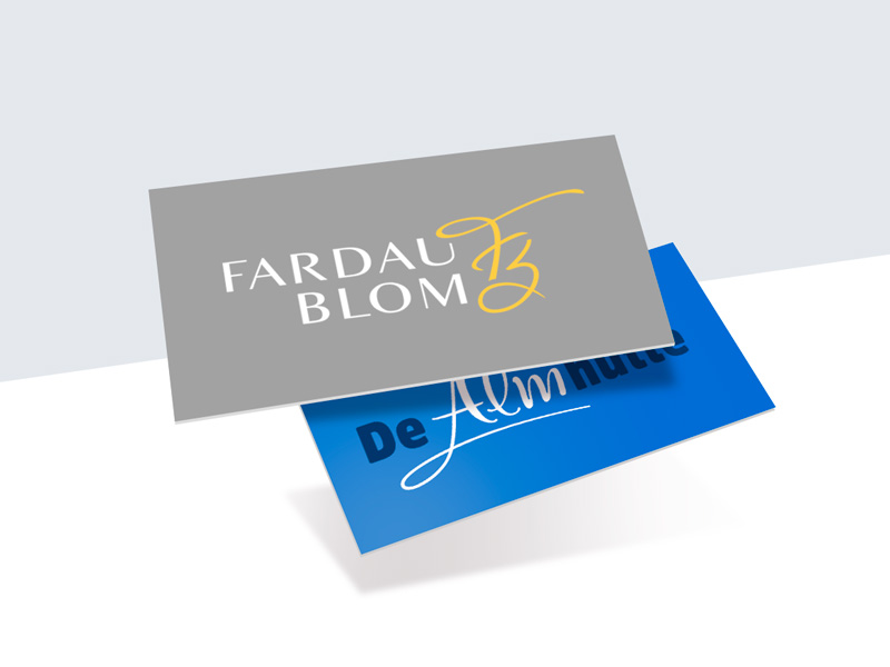 Graphic design by Slize. Logo development Fardau Blom & De Almhutte logotype.
